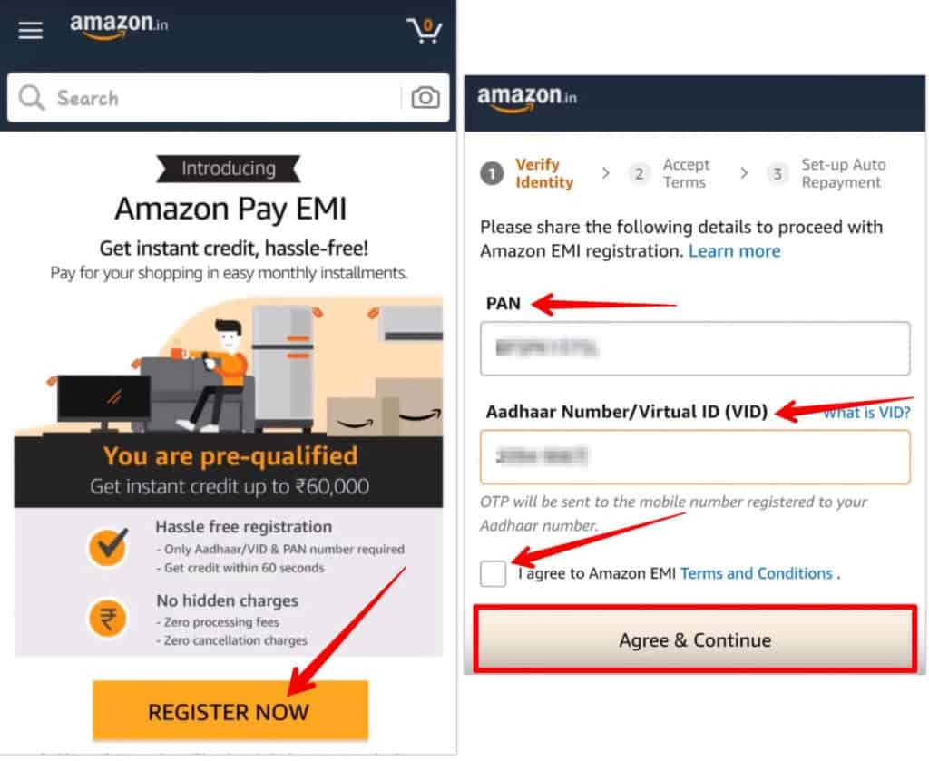 Enter PAN and Aadhar for Amazon Pay EMI Registration
