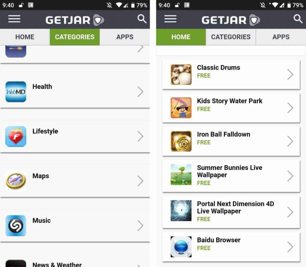 GetJar is an old and trusted Google play store alternative
