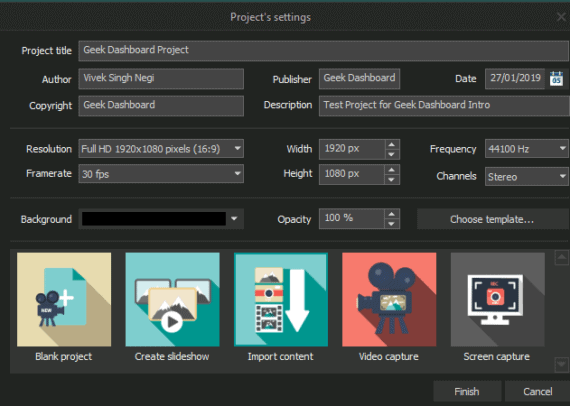 VSDC Video Editor Project Settings