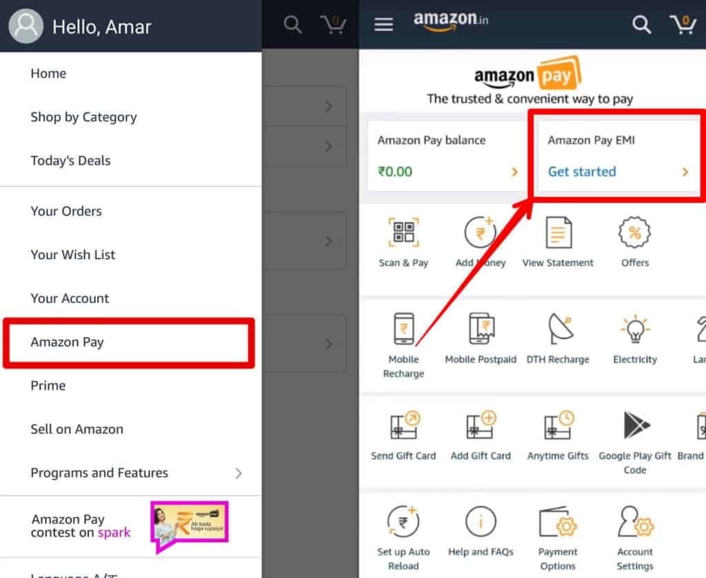 Select Amazon Pay EMI option in Amazon Pay screen