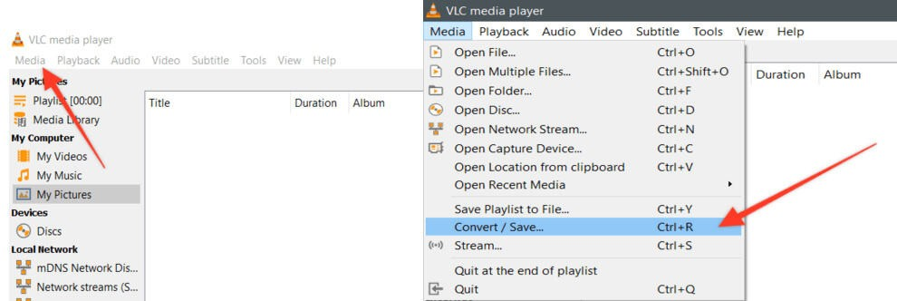 Convert/Save Option in VLC Media Settings