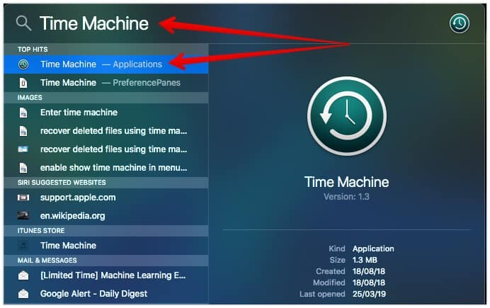 Time Machine Spotlight Search