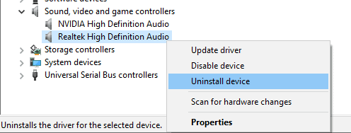 Uninstall Realtek HD audio drivers from device manager