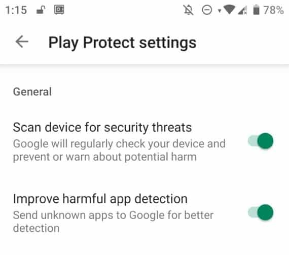 Disable Play Protect Settings