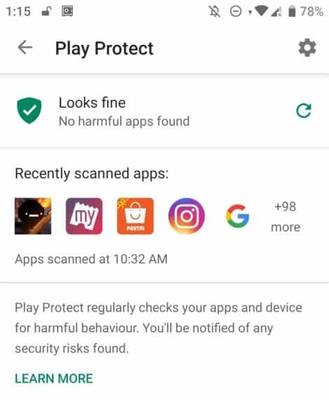 Google Play Protect Settings icon
