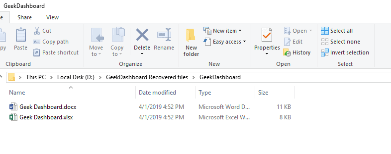 Recovered files in another drive
