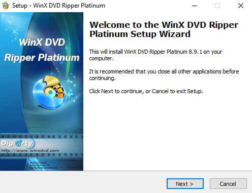 WinX DVD Ripper Platinum setup process