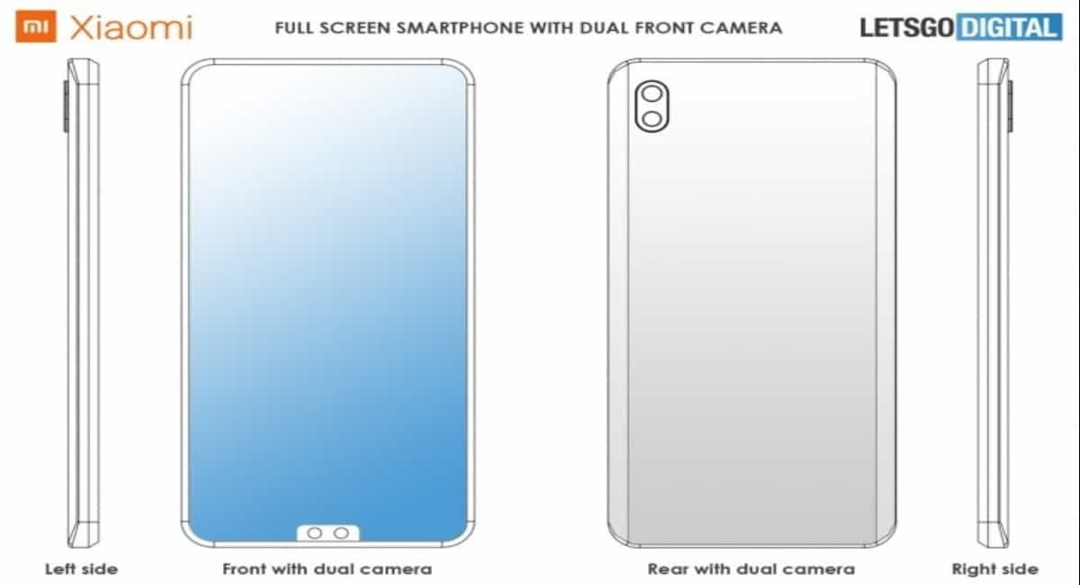 Xiaomi smartphone patent with dual selfie camera and notch
