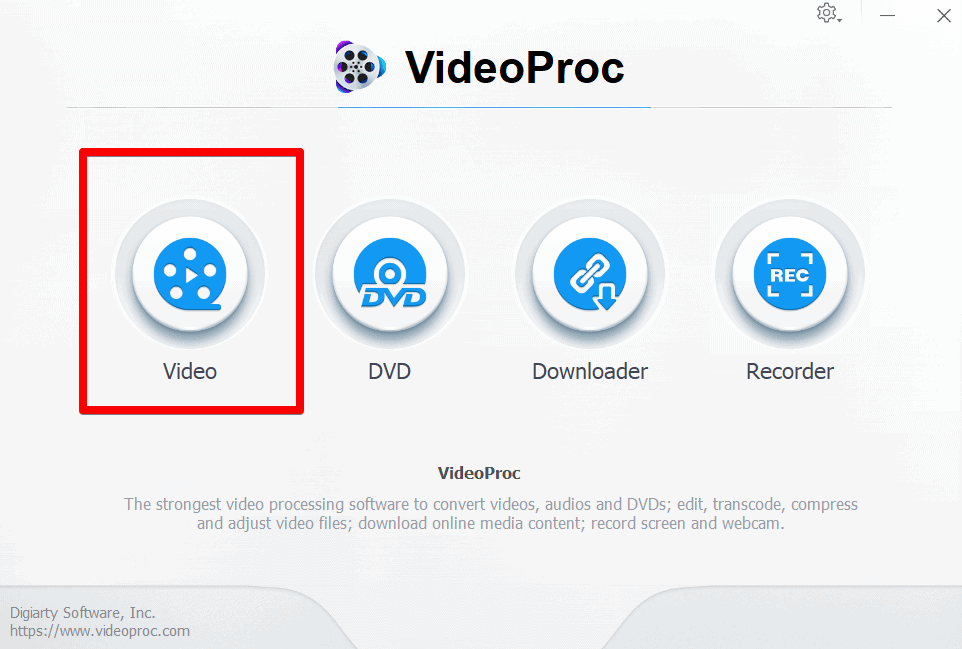 Go to Video section from VideoProc home screen