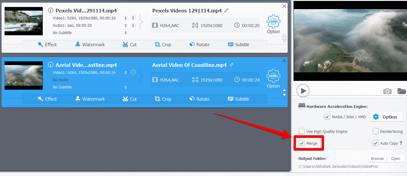 Select Merge option for videos loaded inside VideoProc
