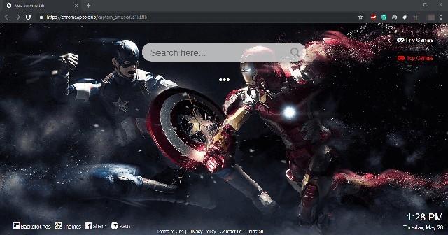 First Marvel's Avenger Captain America Google Chrome Theme