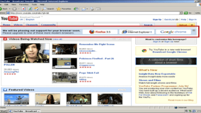 Internet Explorer 6 support ending soon banner inside YouTube