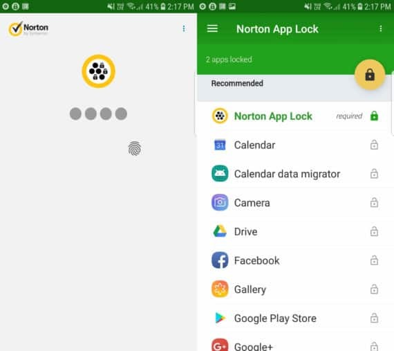 Norton App Lock for Android with Lock Screen on the left and Main Menu on the right
