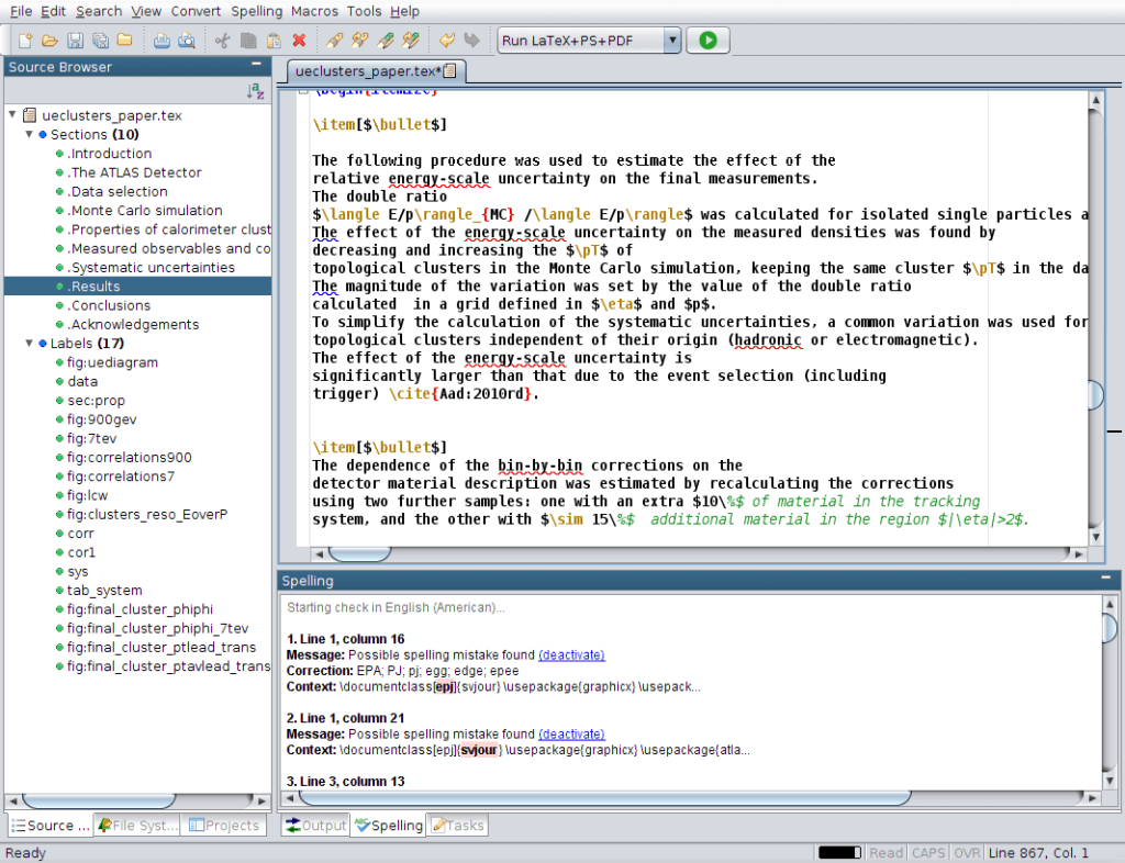 RTextDoc LaTeX Editor User Interface