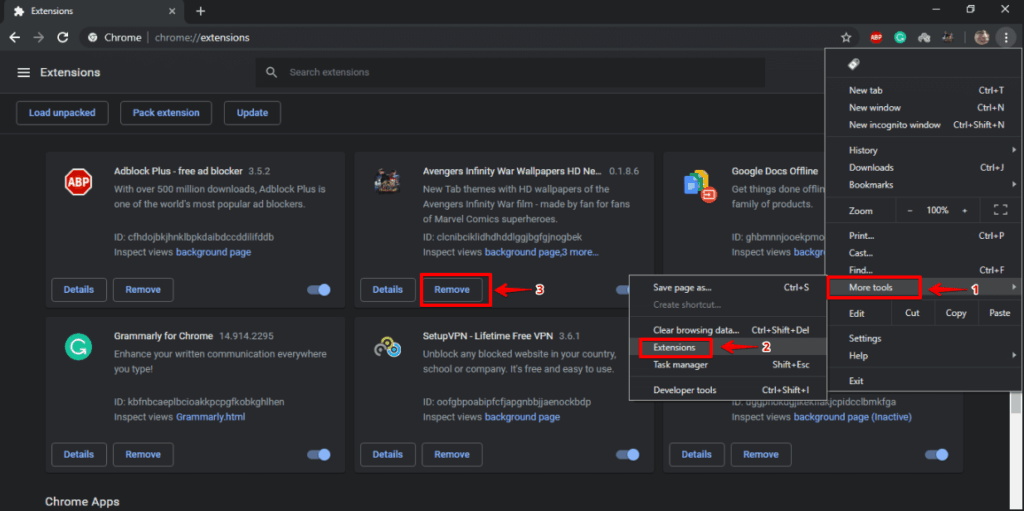 Removing Chrome Extension from Settings