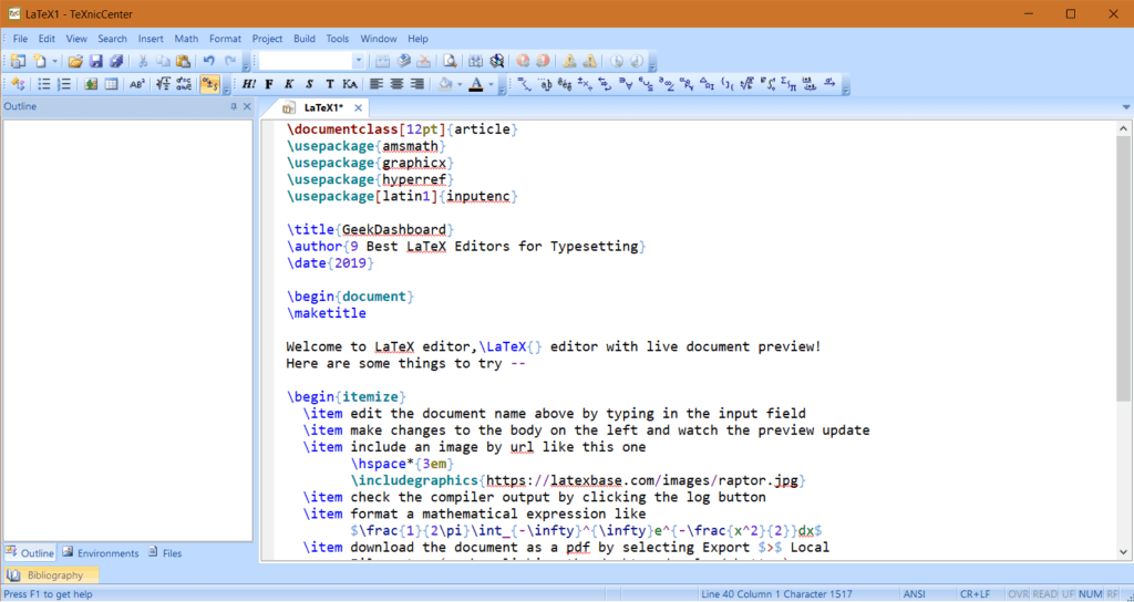 TeXnic Editor User Interface