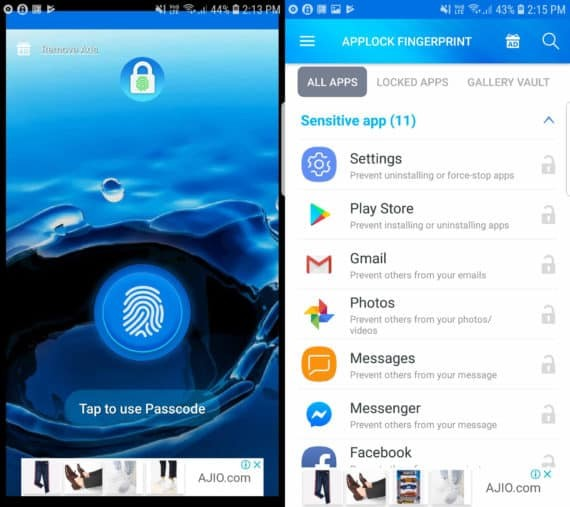 App Lock - Fingerprint by Top Droid Team with Lock Screen on the left and Main Menu on the right
