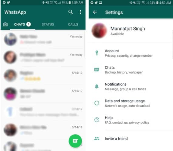 WhatsApp App with Recent Chats on the Left and Settings on the Right
