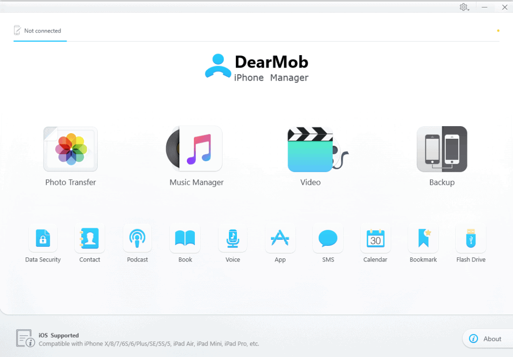 DearMob iPhone Manager Welcome Screen