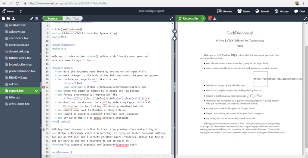 Overleaf Online LaTex Editor User Interface