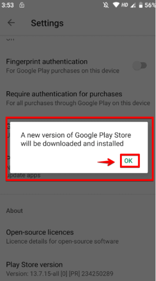 Click OK to update Google Play Store to latest version