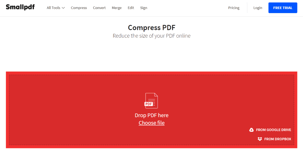 SmallPDF PDF Size Reduction Tool