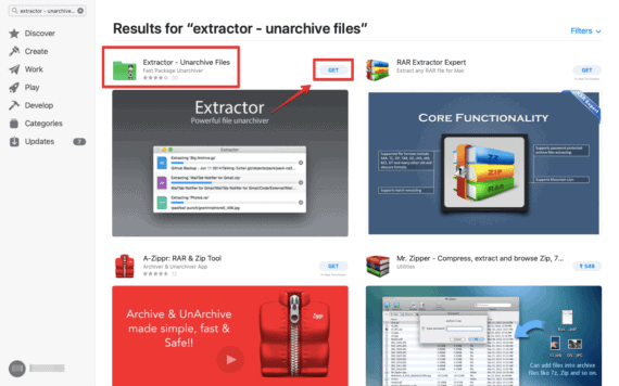 "Click on ""GET"" to install RAR extractor on your Mac"