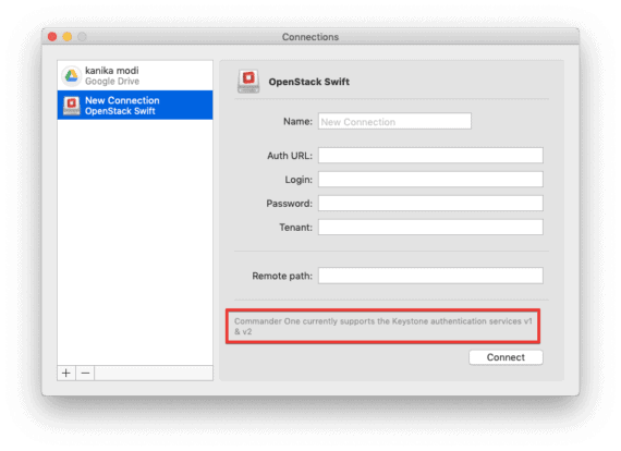 Supports OpenStack Swift Keystone Authentication