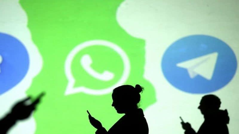 WhatsApp and Telegram Logos in the background