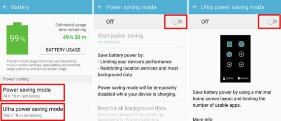 disable power saving modes in Samsung devices