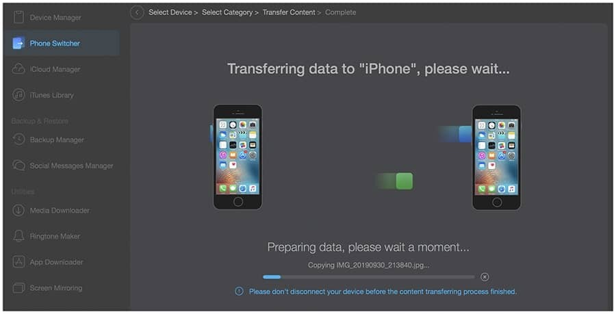 Transferring data to new iPhone 11