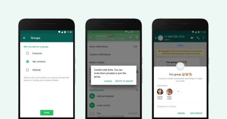 whatsapp privacy option for groups