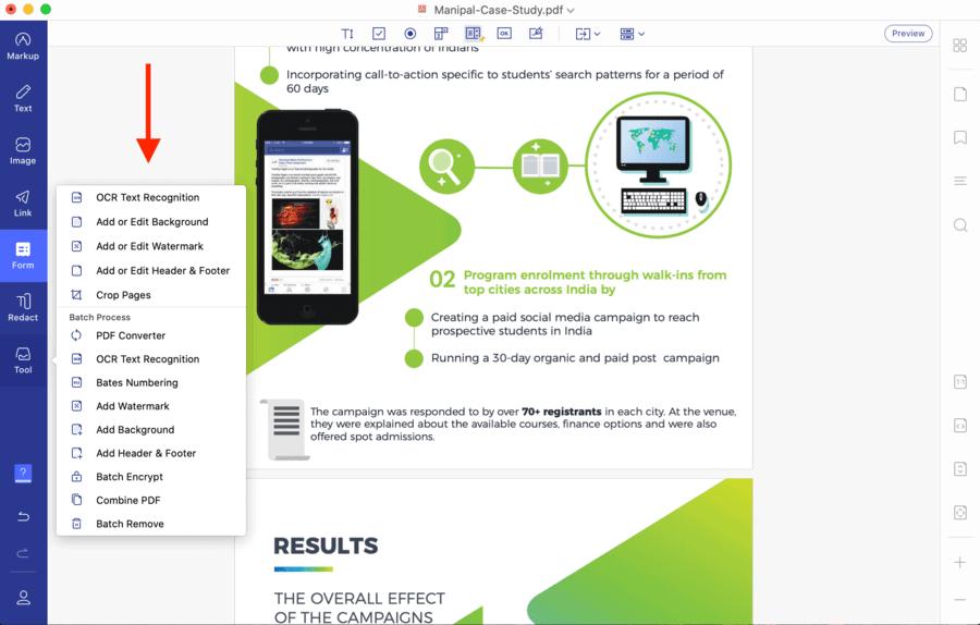 PDFelement Pro for Mac Tools