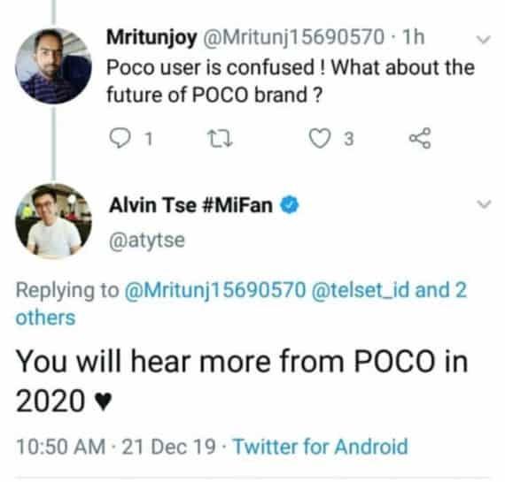 Alvin Tse tweet about Poco F2