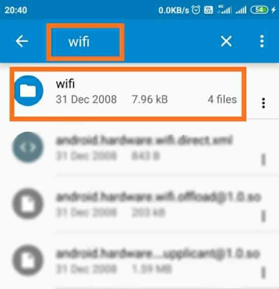 Searching wifi Folder in ES File Explorer app to find saved WiFi passwords