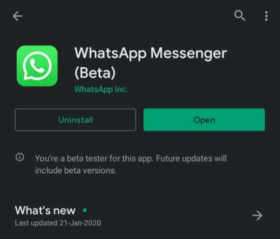 WhatsApp Messenger Beta with Dark Theme
