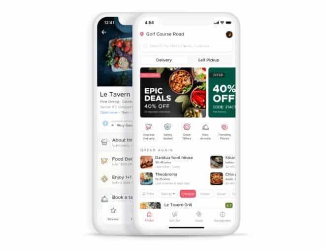 Zomato App Home Screen