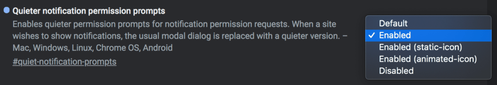 quiet-notification-prompts flag in Chrome