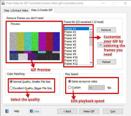 Different options available in Video to GIF converter