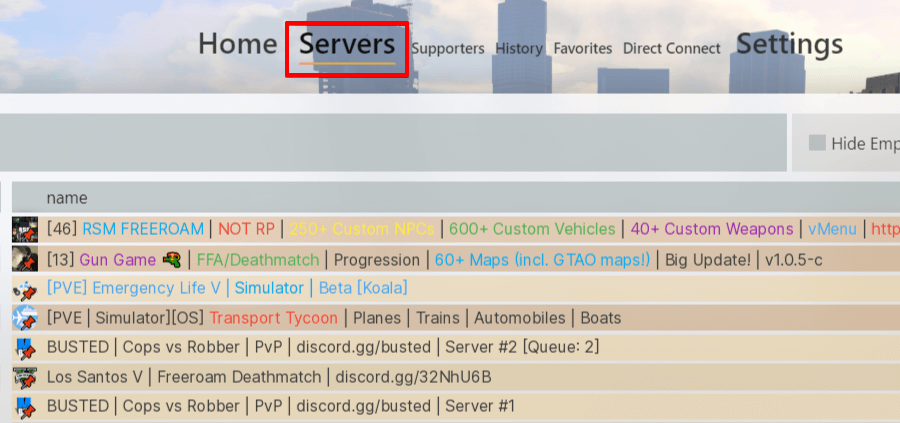 List of FiveM servers