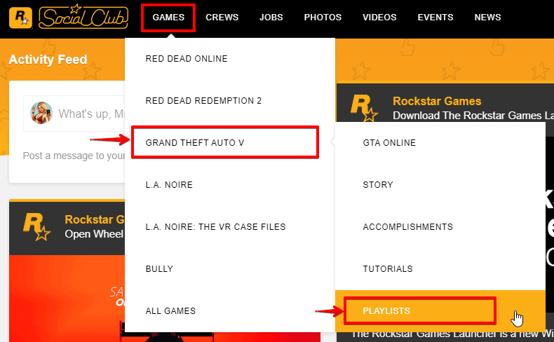 custom GTA 5 games section in Rockstar website