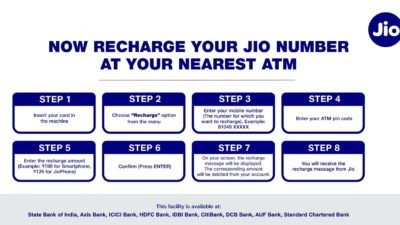 Recharge Jio SIM from an ATM