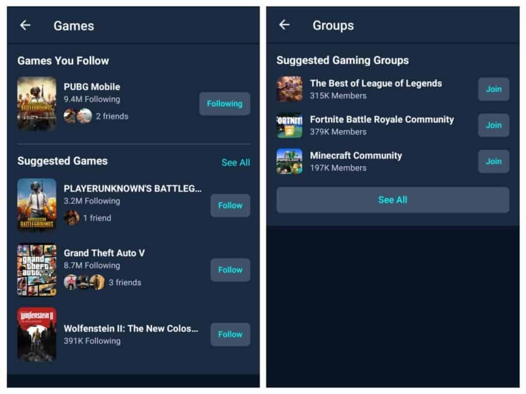Facebook gaming app interface