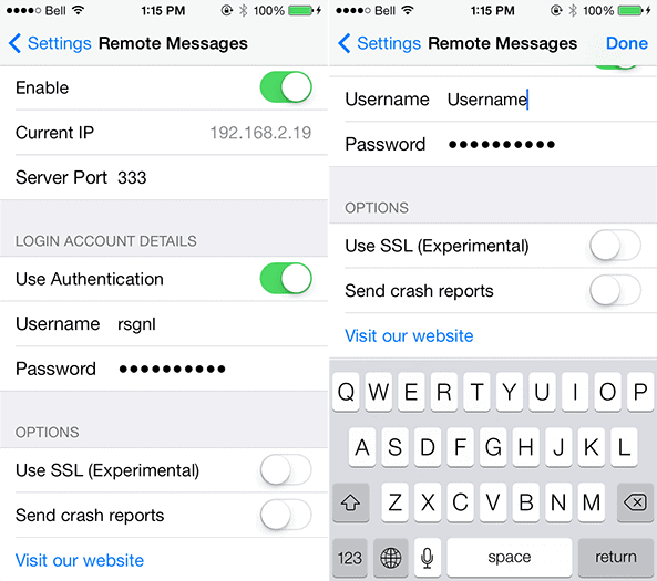Cydia Remote Messages Settings