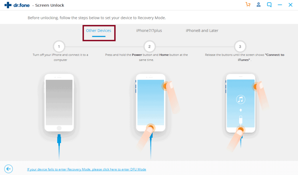Enter recovery mode in iPhone 6S or earlier