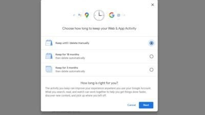 Google's Auto-delete control
