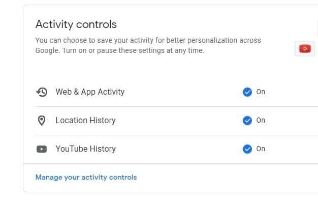 Google's activity control