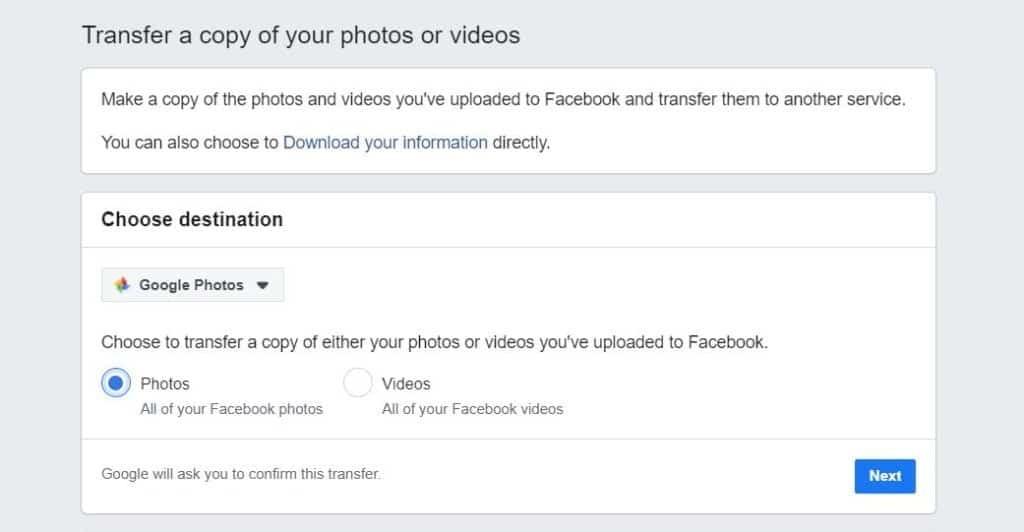 Tranfer your Facebook photos to Google photos