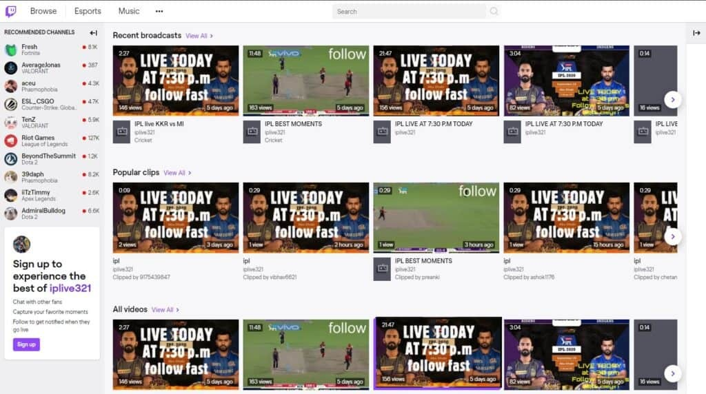 Twitch IPL 2020 Streams
