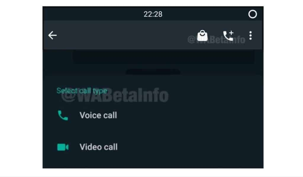 WhatsApp new call icon